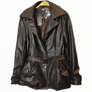 R Rosso Black & Gold Italian Leather Coat